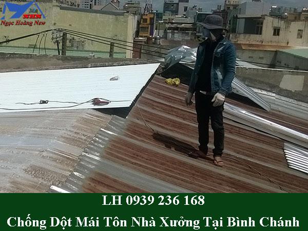 Thi công chống dột mái tôn nhà xưởng tại bình chánh